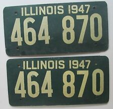 Illinois 1947 FIBERBOARD License Plate PAIR - HIGH QUALITY # 464 870