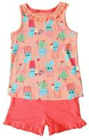 Girls Hug Me Cactus Frill Vest Top & Polka Spot Shorts Sun Set 2 to 6 Years