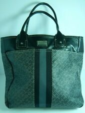 Tommy Hilfiger Women's Large Black & Grey Imitation Leather Tote Purse Accessory