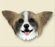 Papillon Brown and White Dog Head Painted Stone Resin MAGNET