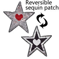 Reversible change color Sequins Five-pointed star love heart shape Sew On Patch#