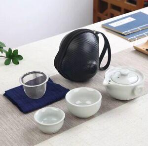 Chinese Kongfu Tea Pot SetPortable TeaPot Two Person Pot +2 Cups + Holder White