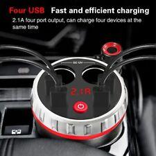 Digital Car Cup Holder Charger Power 2 Cigarette Lighter Socket 4 USB Adapter