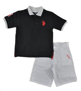 U.S. Polo Assn Big Boys S/S Black Polo 2pc  Plaid Short Set 8 10 12 $44