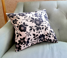 New Handmade STUFFED Black and White Floral Canvas Pillow 17 X 16 In OOAK