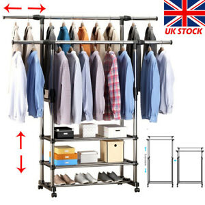 Double Clothes Rail Rack Garment Hanging Display Stand Shoe Storage Shelves UK