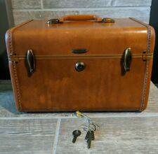Samsonite Leather Train Makeup Travel Vanity Luggage Case Shwayder Bros w/ Keys