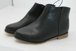 NWT Cat & Jack Girls Shoes Black Faux Leather Zip Up Ankle Boots SIZE 12
