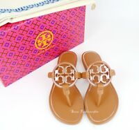 NEW Tory Burch Miller Metal Logo Thong Leather Sandals, Tan/Rose Gold, US 7.5