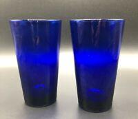 2 Vintage Libbey Cobalt Blue Water Ice Tea Bear Soda Cocktail Glass Tumblers