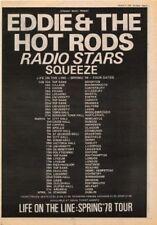"Eddie & Hot Rods Squeeze Radio Stars Tour1978 UK Poster size Press ADVERT 16x12"""