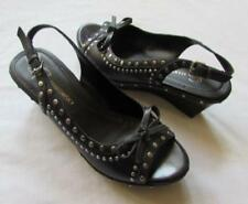 4da37bf1d64 B MAKOWSKY womens 7 black leather studs open toe slingback shoes