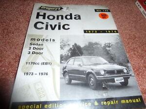 HONDA CIVIC 1973-1976 GREGORY'S OWNER'S SERVICE AND REPAIR  MANUEL No 140