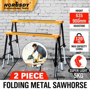 2Pc Mastercraft Sawhorse Metal Folding Non-slip Surface Saw Horse 120KG Capacity