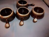Set of 3 Oven proof  Brown Drip  French Onion Soup and 1 McCoy French Onion bowl