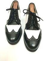 FOOTJOY Classic Womens Golf Shoes Black White Spectator Kiltie 90548 Sz 9 1/2 D