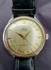 Vintage Mido Multifort Powerwind 18K Gold Bezel Automatic Mens Watch Cal. 917P