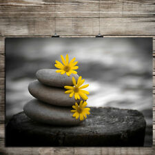 YELLOW BLACK AND WHITE FLOWER AND STONES PRINT  PICTURE POSTER MODERN ART