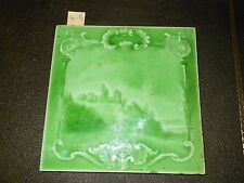 One Antique Arts and craft tile Art Nouveau Sherwin patent castle  6x6  4-5