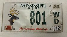 2012 MISSISSIPPI Conserving Wildlife Deer License Plate 801 WD