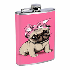 Pink Pug Em1 Flask 8oz Stainless Steel Hip Drinking Whiskey