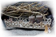 Tablett DEKOSCHALE für Teelichter METALL SHABBY Chic Grau Antik Vintage Landhaus