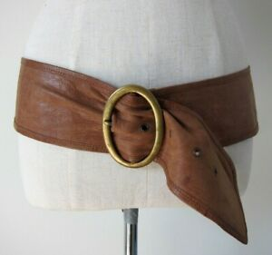 FAITH Vintage Leather Belt, Tan with Brass Buckle