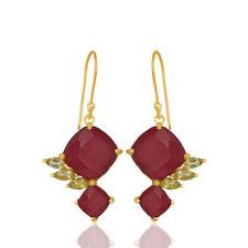 Double Gemstone Drop/Dangle Earrings (925) Sterling Silver Designer Jewelry