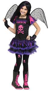 Child Girls Pink Skull Fairy Goth Emo Cutie Halloween Costume Dress Up Funworld