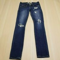 HOLLISTER JUNIORS DISTRESSED DESTROYED DARK WASH LOW RISE SKINNY JEANS SIZE 3