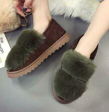Womens Flats Fur Furry Round Toe Slip On Loafers Casual Winter Shoes Velvet