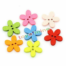 Flowers Shaped 2 Holes Mixed 100PCs Wood Buttons Sewing Scrapbooking
