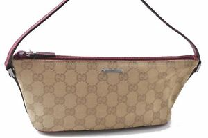 Authentic GUCCI Hand Bag Pouch GG Canvas Leather Brown Pink C5788