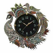 """Wall Clock Round Analog Hand Painted Peacock Display Vintage Wooden Clock 13"""""""