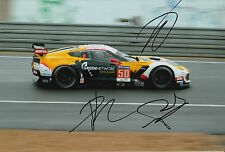 Roda, Ruberti and Poulsen Hand Signed Chevrolet Corvette 12x8 Photo Le Mans.