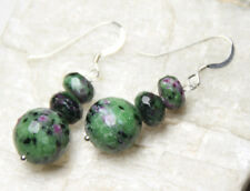 Ruby Zoisite 12mm Ball & Roundel Gemstone Earrings .925 Sterling Silver Green
