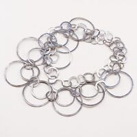 """24"""", Vtg Sterling Silver Necklace, Hammered 925 Circle Chain W/ Circle Pendant"""