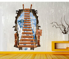 Wandtattoo 3D Skywalk Jet  Hängebrücke Kinderzimmer Wanddeko der Hingucker