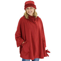 Le Moda Women's Sherpa Trim Polar Fleece Wrap with Matching Gloves and Hat