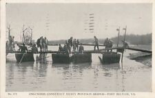 Postcard Engineers Construct Heavy Pontoon Bridge Fort Belvoir VA