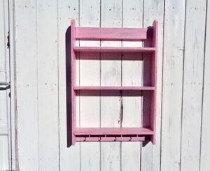 Mensola legno rosa cameretta bambini con 3 ripiani ganci Scaffale parete a muro