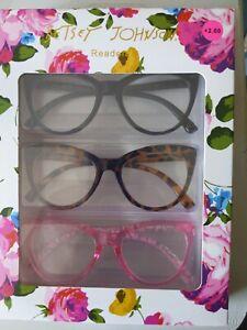 Betsy Johnson Readers Cat Eye +2.00 Set Of 3 black, tortoise, and pink frame NIB