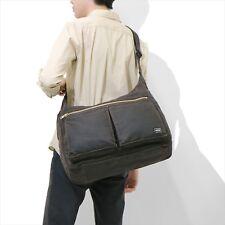 YOSHIDA PORTER Dual Shoulder Bag  Black Leather Cotton Made in Japan 634-06310
