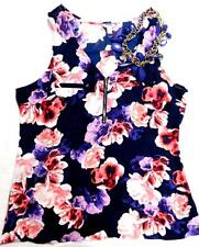 Guess purple floral zip front sleeveless see through regular size top XS