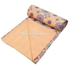 Indian Quilt Blanket Queen Cotton Printed Bed Cover Floral Kantha Quilts