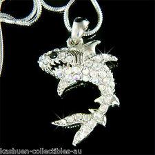 w Swarovski Crystal Ocean Beach Sea ~WHITE SHARK~ wildlife JAWS Pendant Necklace