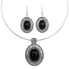 Antique Tibet Silver Oval Black Turquoise Bib Necklace Earrings Set Lady Jewelry