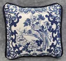 """Pillow made w Ralph Lauren Porcelain Navy Blue & White Fabric  9"""" Square New"""