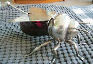 Mappin & Webb Victorian Sheffield Silver Plate Figural Bee Honey Pot Orig Spoon