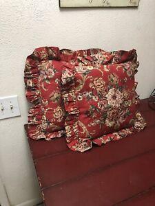 """Ralph Lauren Danielle Marseilles Red Floral Ruffled PairThrow Pillows 18x18"""""""
